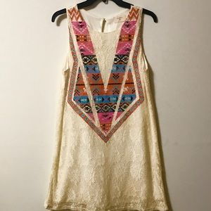 Everly Lacey Dress with Aztec Print